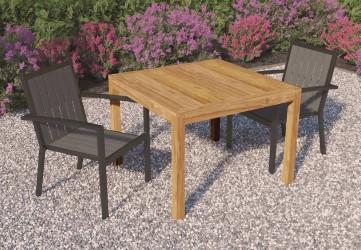 Table de jardin carrée en teck