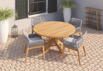 Table de jardin ronde en teck